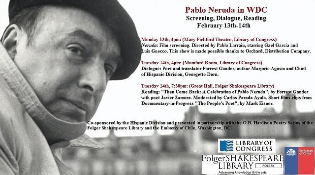 Eventos de la Embajada de Chile en Washington, DC para celebrar la vida de Pablo Neruda