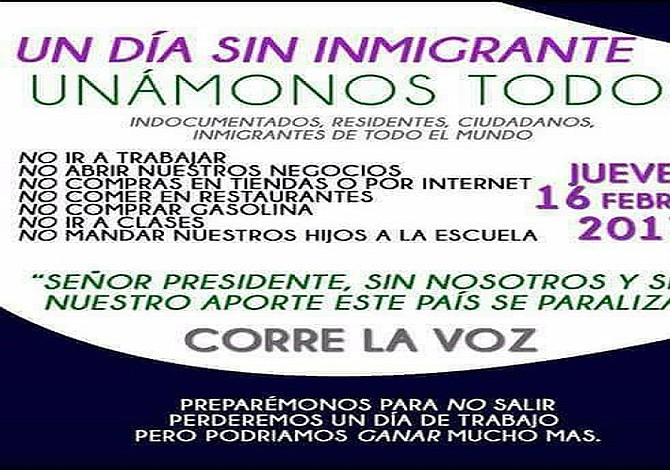 Llaman a un día sin inmigrantes para este 16 de febrero