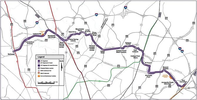 La Línea Púrpura de Metro iría de este-oeste dentro de la circunvalación capital entre Bethesda en el condado de Montgomery y New Carrollton en el condado de Prince George.