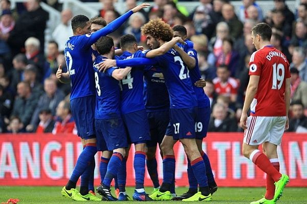 Manchester United venció 3-1 a Middlesbrough y se coloca quinto en Inglaterra