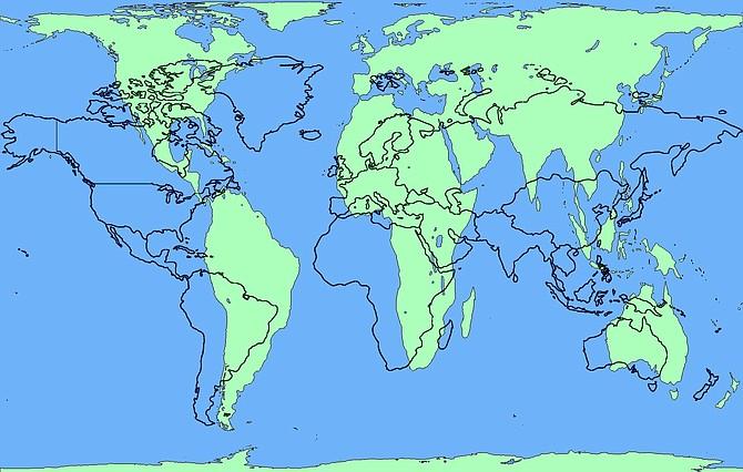 El mapa de Mercati, delineado en negro en la foto, será sustituido por la versión de Peters, coloreado en verde.
