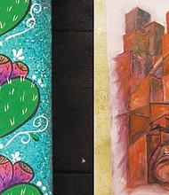 (izq) Obra de la artista plástica Joni Núñez. Fotos Cortesía (der) Para la exhibición del color rojo, que fue en febrero, obra de Timothy Penney.