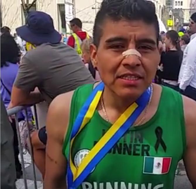 Abel Ortega, de México, corre por una causa. Este es su primer año en Boston pero quiere volver en 2018 y aplicar las lecciones que aprendió en la ruta.