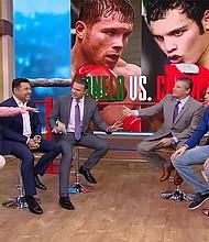 Saúl 'El Canelo' Alvarez levanta, en una entrevista de televisión, la mano izquierda en referencia a su alcance, que es una de las debilidades que los expertos han señalado frente a su rival. Foto-Cortesía:thesun.co.uk
