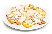 Plátano frito con queso y crema
