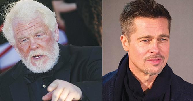 (izq) Imagen de archivo del actor estadounidense Nick Nolte, fechada en 2010, un personaje que ha tenido problemas con el alcohol. (der) El actor Brad Pitt es el último que ha confesado sus problemas con el alcohol.  EFE/EPA/JEREMY LEMPIN