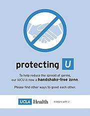Aviso de zona libre de apretones de mano en el UCIN del Centro Médico Ronald Reagan de UCLA.