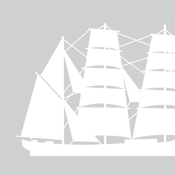 Bricbarca: Tres palos que cruza vergas en el trinquete y lleva cangrejas y escandalosas en el mayor y en el mesana