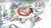 Representación de la instalación temporal The Hub, construida especialmente para el festival.
