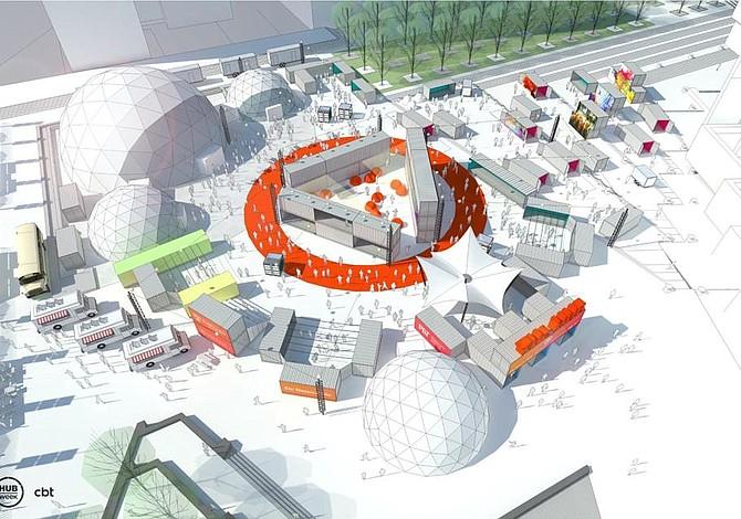 Preparan una enorme instalación en la plaza del City Hall para HUBweek este otoño