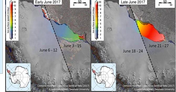 imágenes por satélite de la partición d ela plataforma Larsen C. Foto-Cortesía.