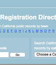 Página donde aparecen registrados los ofensores sexuales en el estado de California.