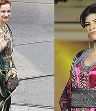 (izq) La princesa Lalla Salma de Morruecos luciendo un caftán. EFE/ Ballesteros (der) Una modelo presenta un caftán creación de Lamia Menyawi, de Marruecos. EFE/WAEL HAMZEH