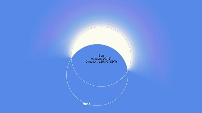 Así se verá el punto máximo del eclipse solar del 21 de agosto en Boston