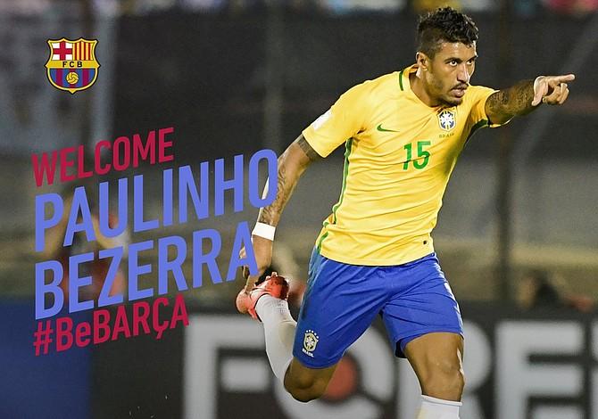 Barcelona fichó por 40 millones de euros al brasileño Paulinho Bezerra