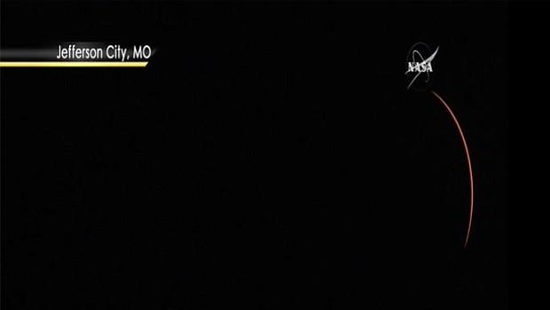 Cómo se vio en Jeffeson City, Montana alrededor de las 11:21 horas pacífico. Foto-Cortesía: NASA TV , Public Channel.