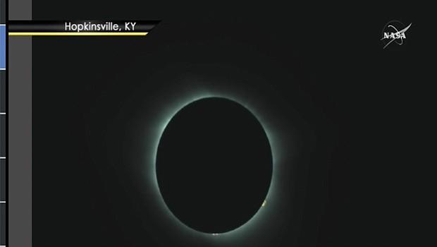 Vista del eclipse de sol en Hopkinsville, Kentucky, a las 11:24 hora del pacífico. Foto-Cortesía: NASA TV, Public Channel.