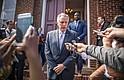 El gobernador de Virginia, Terry McAuliffe, en una conferencia de prensa después de la misa dominical en la Primera Iglesia Bautista en Charlottesville, Virginia, el pasado domingo.
