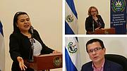 SALVADOREÑOS. En dirección de las manecillas del reloj, la Cónsul Ena Úrsula Peña, la Embajadora Claudia Canjura y el Canciller Hugo Martínez en la ceremonia en honor al centenario del natalicio de Monseñor Romero.