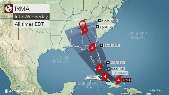 Nueva Inglaterra está a salvo del paso de Irma, según NWS