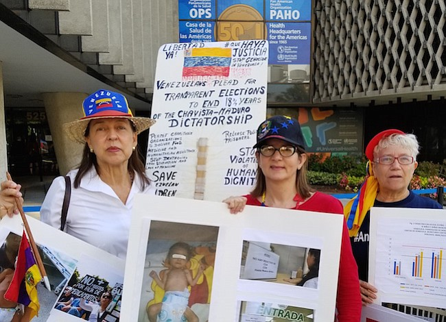 Médicos venezolanos exigieron un canal humanitario frente a la OPS en Caracas y Washington DC