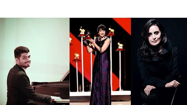Kristhyan Benítez (piano) será el solista invitado para interpretar la obra de la compositora argentina Claudia Montero (en el centro), con el Ensamble Unitas bajo la batuta de Lina González-Granados