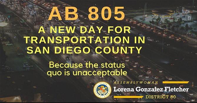 """Significativo y directo, sin duda, el mensaje de Lorena González en su cuenta de facebook: """"AB 805, un nuevo día para el Transporte en el Condado de San Diego, debido a que el 'status quo' (estado permanente) es inaceptable. Cortesía."""