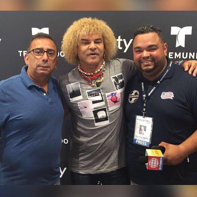 """Marcelo Briones, Carlos """"el Pibe"""" Valderrama y José Gabriel Cabrera. FOTO: Cortesía Punto Penal y Gol"""