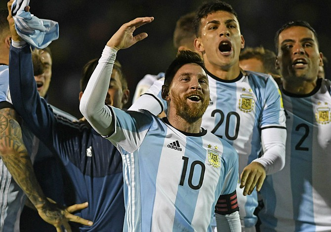 Messi celebrates Argentina's qualification for 2018 World Cup