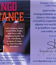 Afiche del concierto de Pablo Ziegler el domingo 22 de octubre.