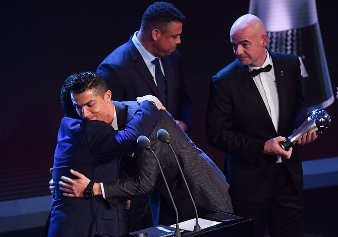 Cristiano Ronaldo wins top-player honors once again at The Best FIFA awards
