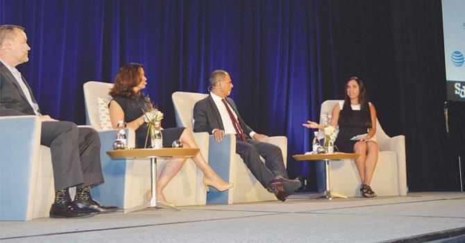 Paola Avila, cuarta de derecha a izquierda, en un reciente panel organizado por SDRCC. Foto: Horacio Rentería/El Latino.