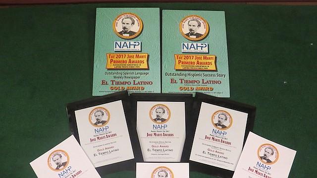 PREMIOS. Los ocho galardones recibidos por El Tiempo Latino en la Convención 2017 de la Asociación Nacional de Publicaciones Hispanas,