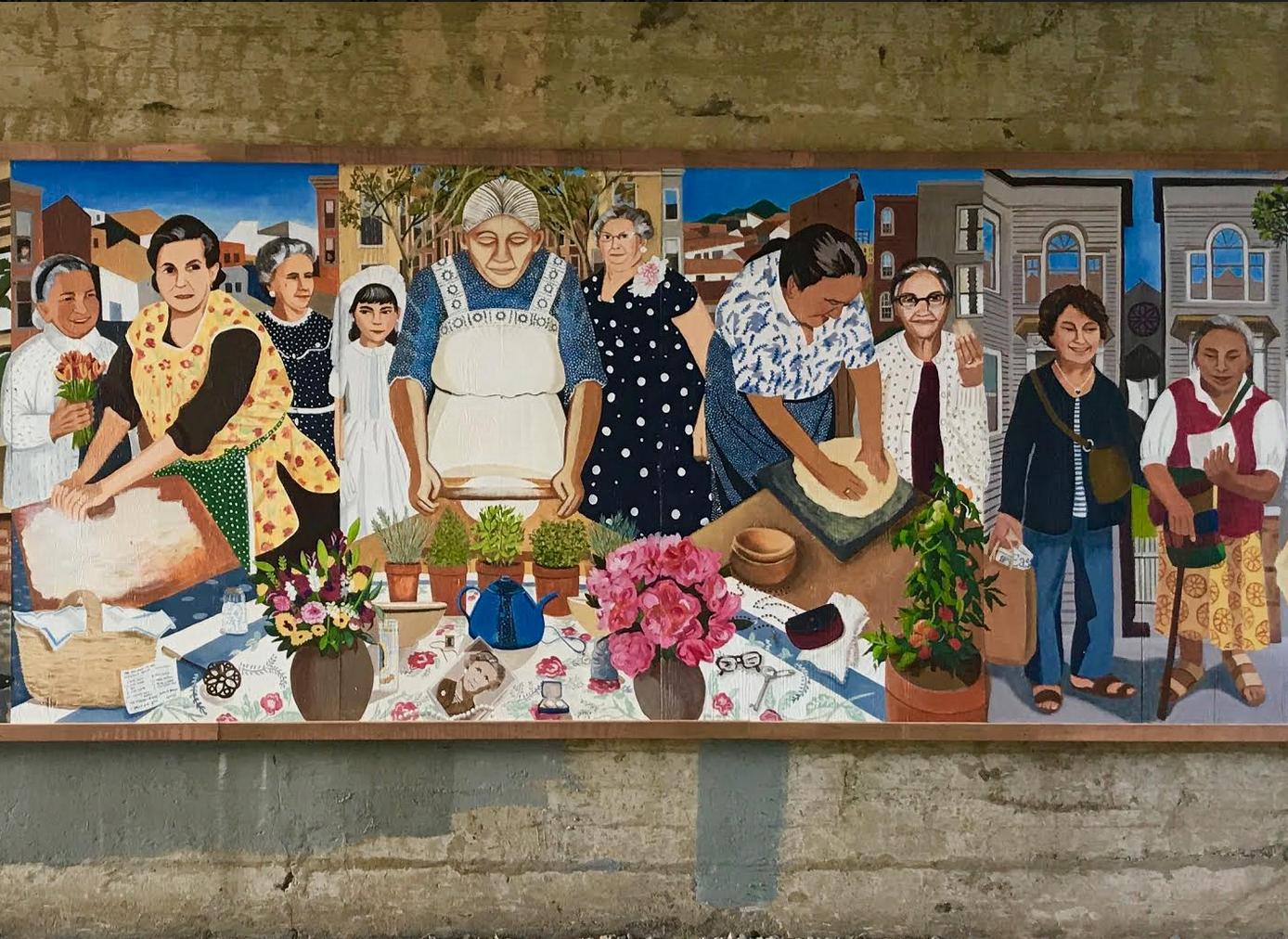 El mural fue pintado en paneles dentro de un centro comunitario en East Boston.