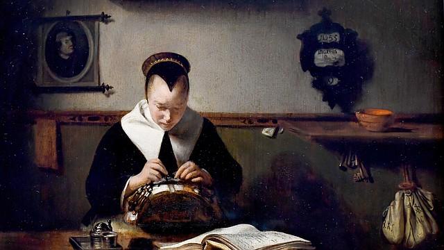 """Un detalle de una obra de Nicolas Maes, """"Young Woman Making Lace"""", de 1655. Fue pintado unos años antes de que Johannes Vermeer pintara """"The Lacemaker"""", que estará en exhibición hasta el 21 de enero en la Galería de Arte Nacional."""