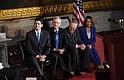 De izq. a der.: El vocero del Congreso, el republicano de Wisconsin Paul Ryan, el líder de la mayoría en el Senado Mitch McConnell, republicano por Kentucky, el líder de la minoría del Senado Chuck Schumer, demócrata por Nueva York, y la líder de la minoría de la Cámara Nancy Pelosi.