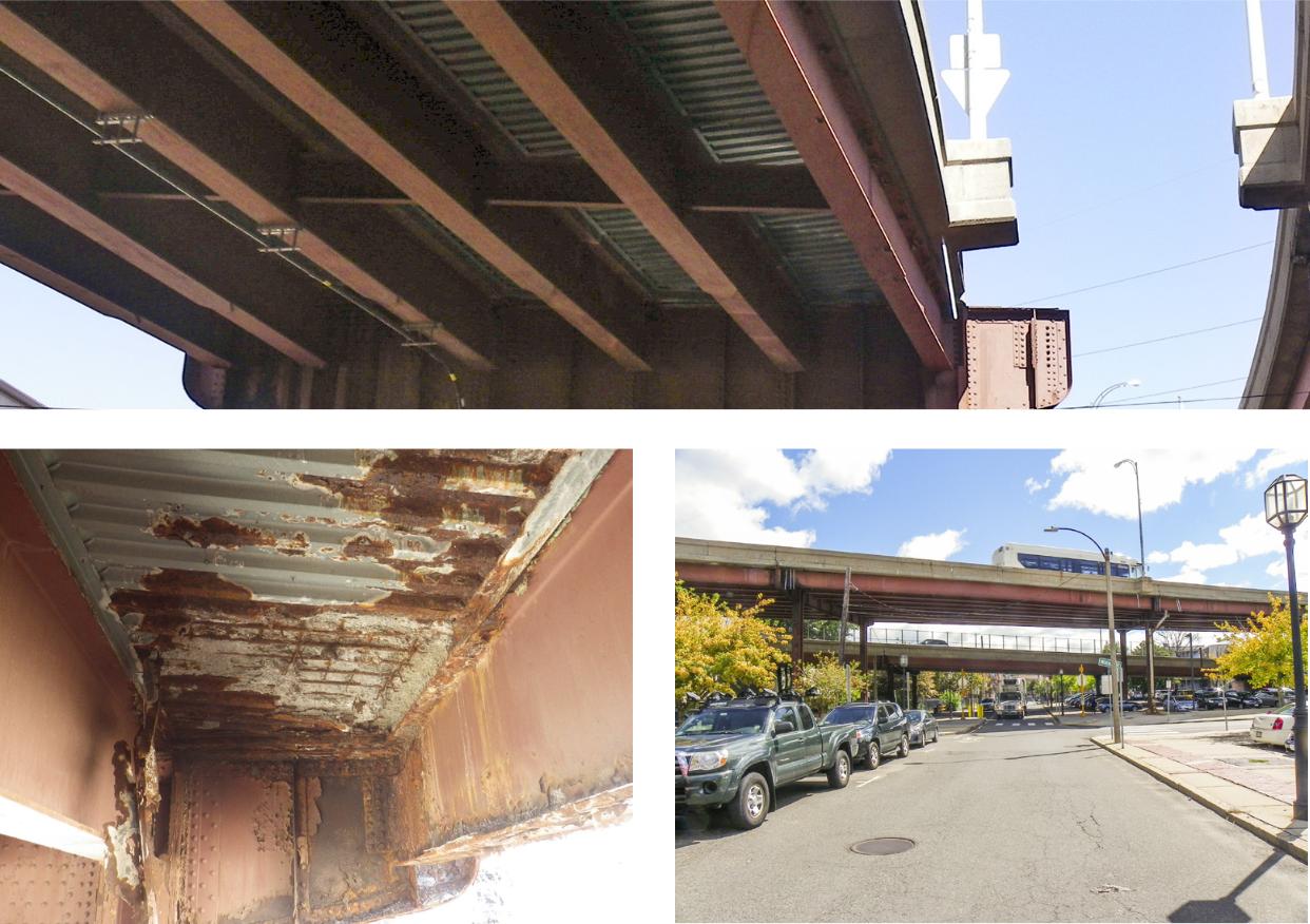 Secciones del Viaducto de Chelsea, y una muestra las condiciones estructuralmente deficientes actuales.