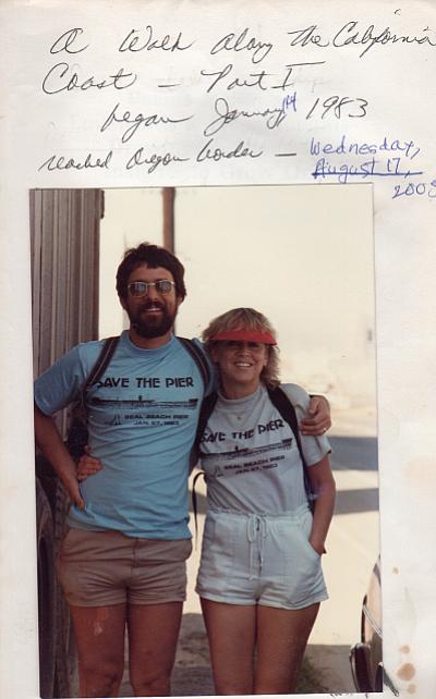 Goodrich y su esposo Michael documentaron el inicio de su caminata desde la frontera con México hasta la costa de California en enero de 1983