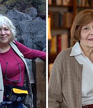 Harlene Goodrich (izq.) y Dorothy Kelly son ejemplo de cómo envejecer bien. Arriba, Goodrich se detiene en Vernal Fall, en el Parque Nacional Yosemite, durante una caminata en 2016 para esparcir las cenizas de su difunto esposo.