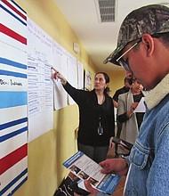 FOTO. María Fernanda Robalino muestra a un grupo de jóvenes la lista de casas que visitarán promoviendo el voto.