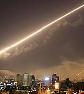 Misiles sobre el cielo de Damasco durante el bombardeo