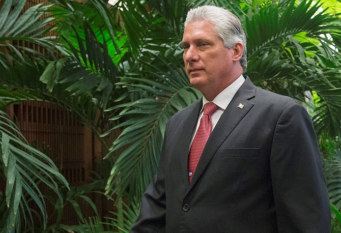 Miguel Díaz-Canel Bermudez en el Palacio de la Revolución, en La Habana, El primer vicepresidente de Cuba fue nominado para suceder a Raúl Castro al frente del gobierno de la isla.