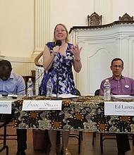 """Ann Wilcox  Candidata a alcaldesa de DC """"Necesitamos apoyar a las personas jóvenes a través de organizaciones como CASA y CARECEN que ofrecen servicios legales""""."""