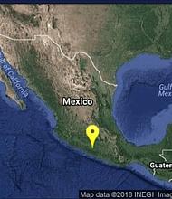 Epicentro del sismo en México