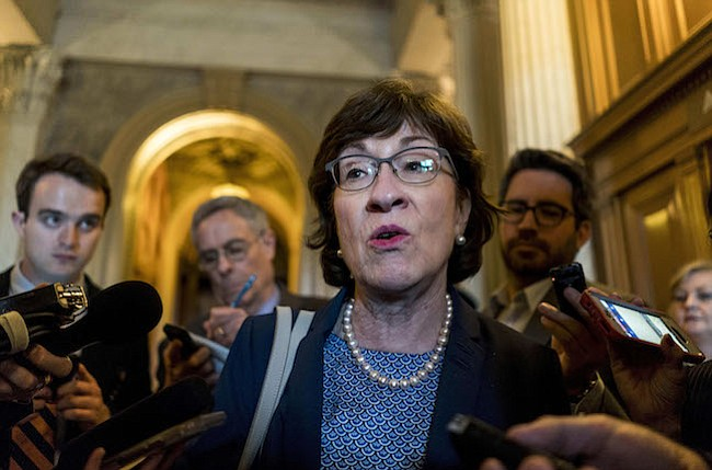 La senadora Susan Collins, republicana de Maine, está preocupada por la propuesta del presidente Donald Trump de retirar dinero del programa CHIP