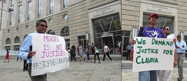 MANIFESTACIÓN. Abel Nuñez (izq.), director de CARACEN y Arnoldo Borja (der.), el miércoles 30 de mayo, en la manifestación pidiendo justicia por la muerte de Claudia Patricia Gómez González.