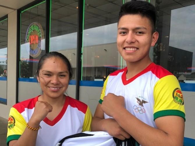 KARATE. Dos de los representantes de la delegación boliviana