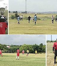 TROFEOS. Cuatro divisiones de la liga participaron en el torneo Rusia 2018. Derecha, árbitros Antonio Flores, Pedro Serrano y Sergio Martínez.