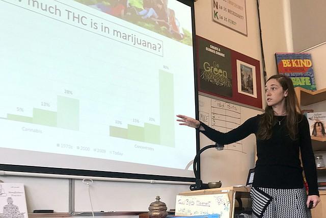 Ashley Brady explica los cambios de potencia de la marihuana con el tiempo a una clase de octavo grado de Marin Primary and Secondary School en Larkspur, California.