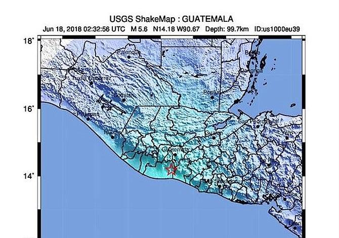 Un sismo de magnitud 5,7 sacude Guatemala sin causar daños